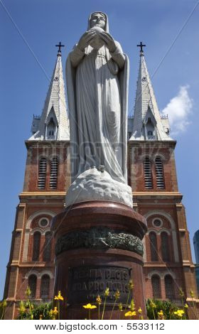 Notre Dame Catherdral Virgin Mary Statue Saigon Vietnam