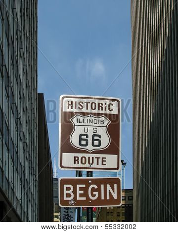Route 66 Beginning: Illinois / US 66 Shield