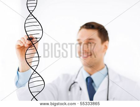 medicine, health and hospital concept - smiling doctor drawing dna molecule on virtual screen