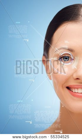 beauty, vision and health concept - smiling young woman
