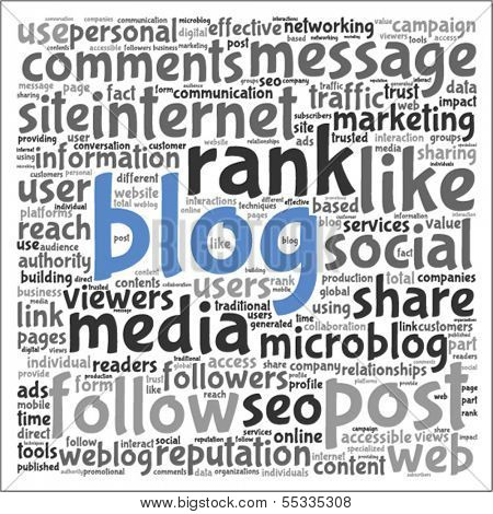 Blog and social media concept in vector word tag cloud on white background