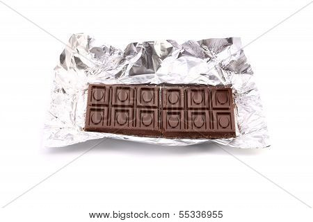 Unwrapped Chocolate Bar.