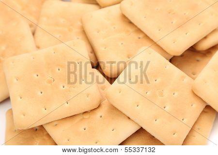 Background of saltine soda crackers.