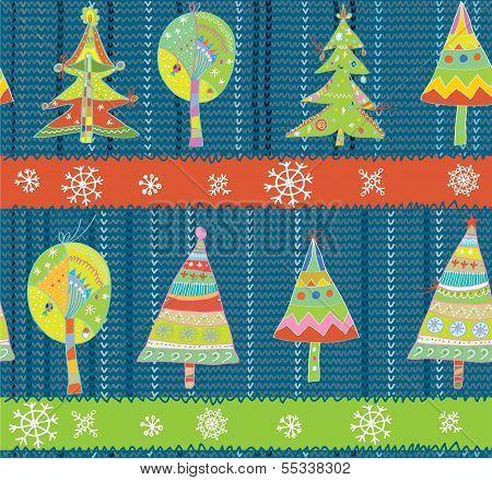 Christmas trees seamless winter knitting pattern