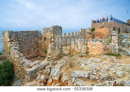 Turkey, Alanya. Ancient Castle Ruins.