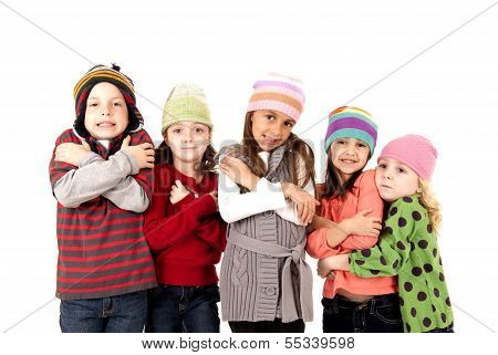 Children In Winter Hats Shivering Cold