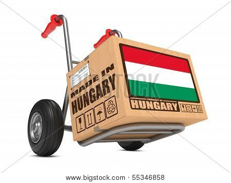 Made in Hungary - Cardboard Box on Hand Truck.
