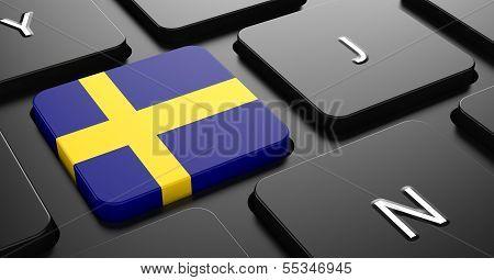 Sweden - Flag on Button of Black Keyboard.