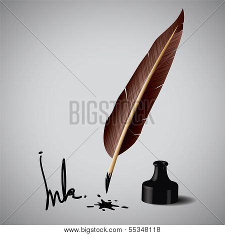 Feather pen ink  Vector illustration