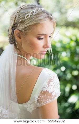 Blonde bride in a veil rear view in the countryside