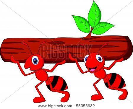 Team of ants cartoon carries log