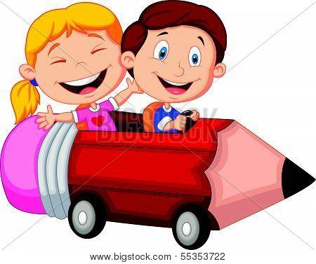 Happy children cartoon riding pencil car
