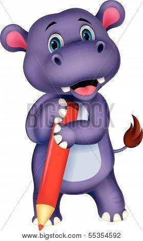 Cute hippo cartoon holding yellow pencil