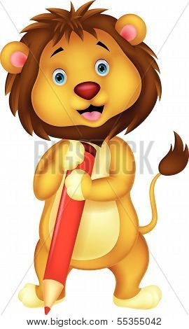 Cute lion cartoon holding red pencil