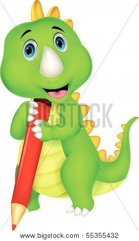 Cute dinosaur cartoon holding red pencil