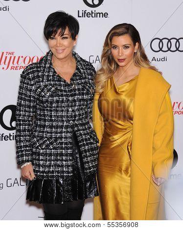 LOS ANGELES - DEC11:  Kris Jenner & Kim Kardashian arrive to Women in Entertainment Breakfast 2013  on December 11, 2013 in Hollywood, CA