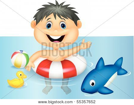 Boy cartoon floating with inflatable ring
