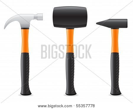 Tool Hammer With Plastic Handle Vector Illustration