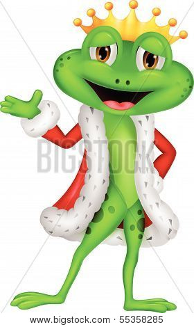Cute king frog cartoon with presenting