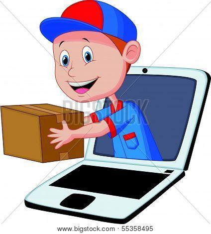 Online delivery cartoon