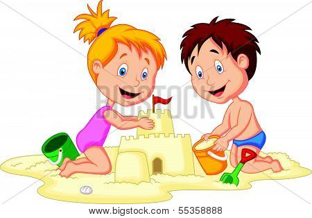 Children cartoon making sand castle