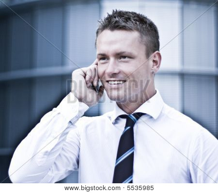 Young Corporate Man On Cellular Phone