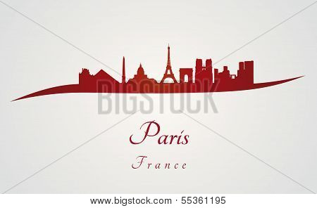 Paris Skyline In Red