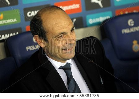 BARCELONA - NOV, 30: Jagoba Arrasate manager of Real Sociedad during a Spanish League match against RCD Espanyol at the Estadi Cornella on November 30, 2013 in Barcelona, Spain
