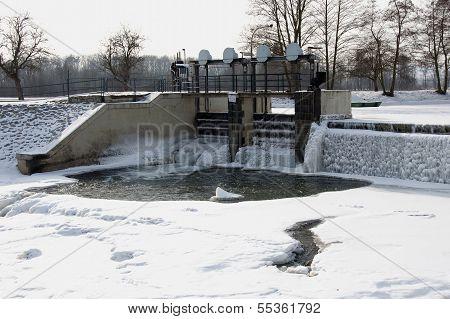 Small sluice on the River Morava in Litovel