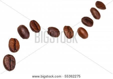 Zigzag Pattern From Many Roasted Coffee Beans