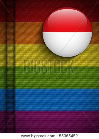Gay Flag Button On Jeans Fabric Texture Monaco