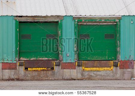 Green Shuttered Outside Loading Gate Ramps