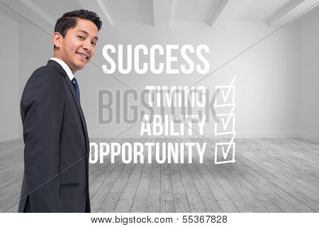 Composite image of success checklist written on room background