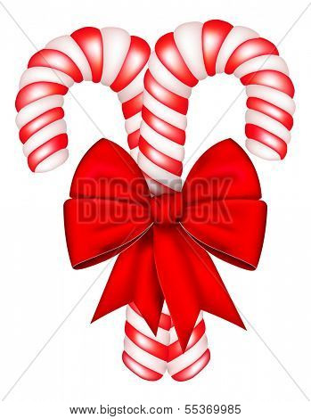 Candies cane with red bow