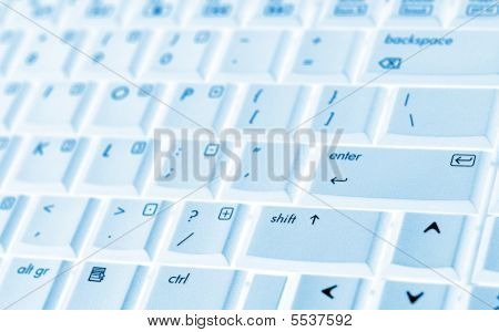 Laptop Keyboard With Blue Tint