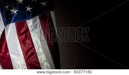 American Flag with black background for copy space