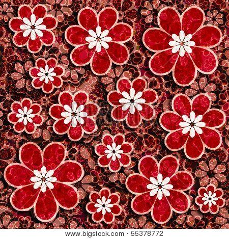 Red Flowers Scrapbook Paper
