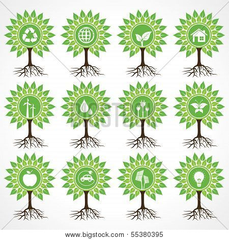 Set of eco icons on tree stock vector