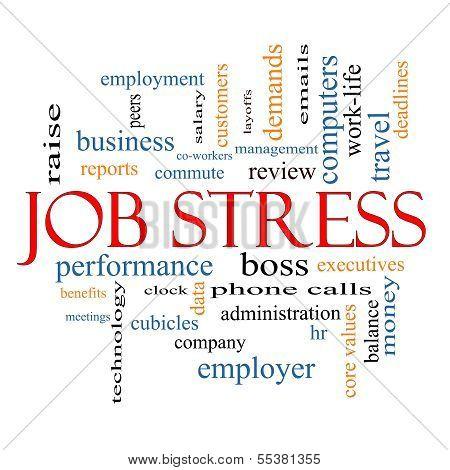 Konzept der Job Stress Wort-Wolken
