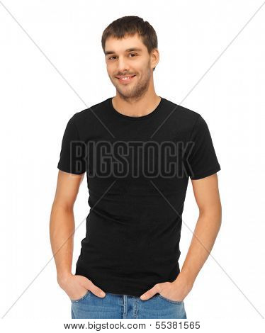 clothing design concept - handsome man in blank black t-shirt