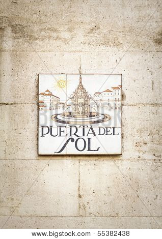 Puerta del Sol sign in Madrid, Spain