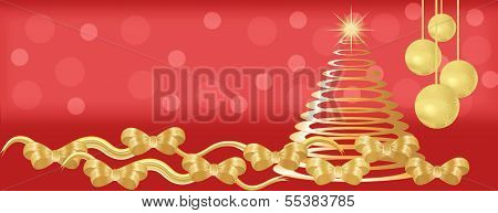 Red And Gold Christmas Panorama Background