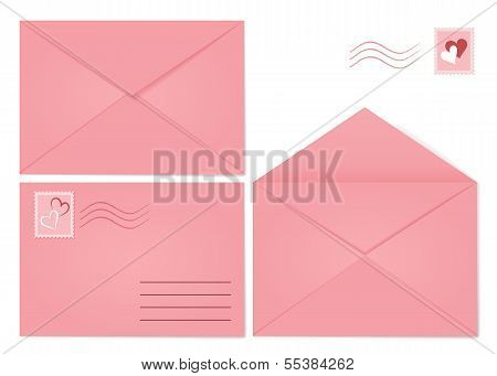 Set Of Pink Envelopes.