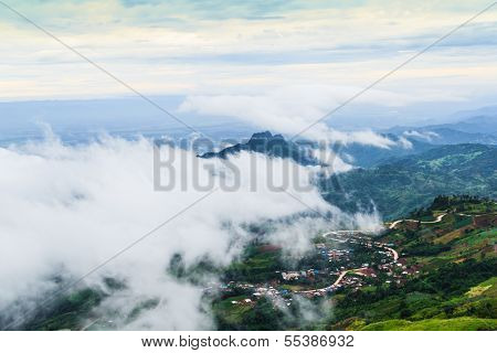 Foggy And Cloudy Mountains .
