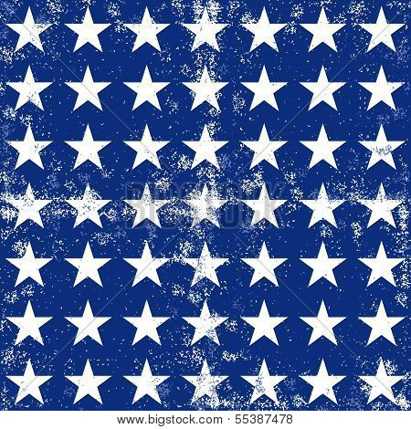 little white stars in regular horizontal and vertical rows on dark blue grunge seamless pattern