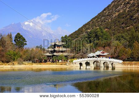 Black Dragon Pool Jade Dragon Snow Mountain in Lijiang, Yunnan, China