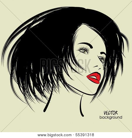 art sketched beautiful girl face with straight black hair in vector