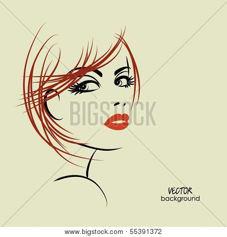 art sketched beautiful girl half-face with straight hair, in vector