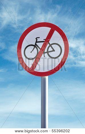 'No cycling' sign