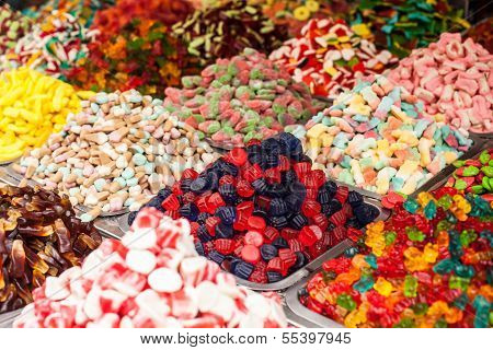 Market Stall Full Of Candys In Local Israel Market.